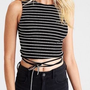 American Eagle Black and White Striped Crop Top S